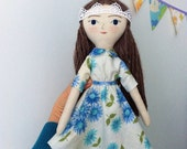 Tiny Handmade Dolls - large heirloom cloth doll with blue vintage flora dress with Peter Pan collar RESERVED