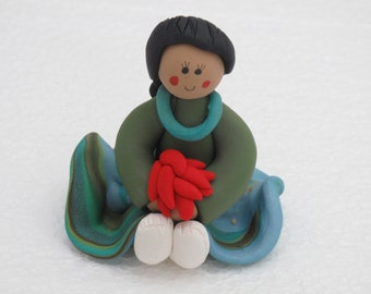 Indian Maiden sitting girl polymer clay figurine with chili pepper rista