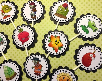 "30 Dimensional ""Plants vs Zombies"" Cupcake Toppers *Ready to Ship*"