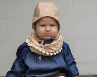 Childs neck scarf, tan eyelet fabric scarf, Pom Pom trim scarf, baby scarf, baby drool bib, infinity scarf, Emmifaye scarf, fall scarf