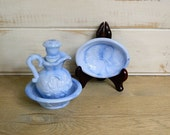 AVON COLLECTIBLE - Three Piece Blue Milk Glass Set - Pitcher, Bowl and Soap Dish - 1978