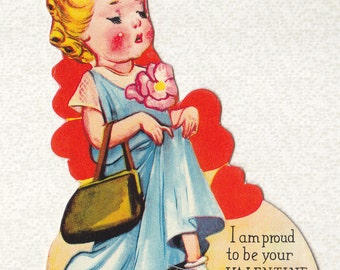 PLAYING DRESS-UP  Valentine, 1930's, Easel Bottom, Rosy Cheeked Little Girl in Mom's Clothes, Vintage Greeting Card