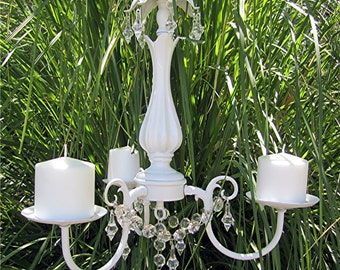 HANGING CHANDELIER CANDLE Holder  - Oak 3 arm  Satin  White with Clear Glass Votives, Pillar or Tapered Candles /Outdoor /Indoor