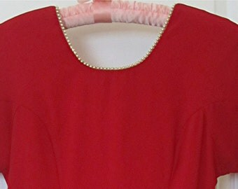 "Vintage ""CDC"" Red Dress with Pearls in Back, Size 10"