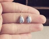 Raindrop Earrings / Minimalist Little Rain Drops / Antique Silver Pierced Dangly / Geometric Style Small Everyday / Shiny Boho Tear Teardrop