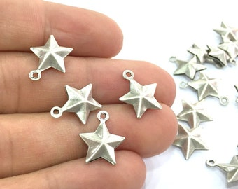 10 Pcs (12mm) Antique Silver Plated Brass Star Charms   G4673