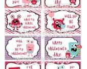 Instant Download Monster Love Valentines Cards DIY Printable Cards