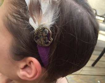 purple feather headband with silhouette