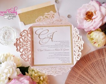 Sample - Custom Square Laser Invitation for Wedding, Mitzvah or Party - shown in Blush Pink Shimmer and Gold Glitter - or in your colors