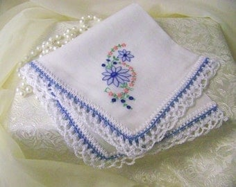 Something Blue, Bridal Handkerchief, Hanky, Something Old, Hand Crochet, Lace, Bouquet Wrap, Floral, Ladies, Personalized, Monogrammed