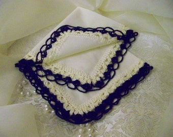 Navy Blue Handkerchief, Hanky, Hand Crochet, Lace, Lacy, Monogrammed, Personalized, Embroidered, Ladies, Bridesmaids, Cream Colored