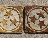 Reserved Listing for Tony - 4x4 Etched Slate Tiles -Tennessee Stars