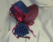 Navy Blue and Burgundy Stovepipe Bonnet and Reticule- Regency, Georgian, Jane Austen Era Bonnet and Purse