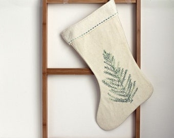 Christmas stocking, green tree quilted, simple christmas tree stocking, organic heirloom quality