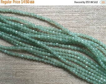 ON SALE 4mm Faceted Green Adventurine Beads