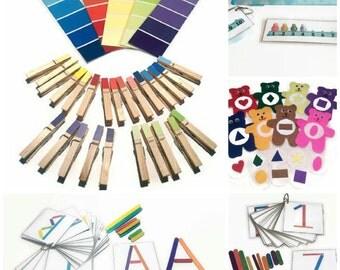 Busy bags bundle for preschool, kindergarten,  learning ressource for homeschooling children, montessori activities, travel activity kit.