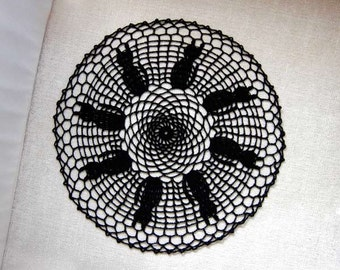 Black Cat Decor Crochet Doily, New, Table Decoration, Gothic, Slightly Imperfect, On Sale