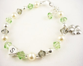 Flower Girl Bracelet - peridot green and ivory cream or any colors swarovski crystal and pearl