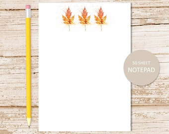 leaves notepad, note pad . autumn leaves notepad . fall leaf border . abstract art . stationery . stationary gift