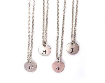 Initial Necklace- Custom Disc Necklace- Custom Initial Necklace- Circle Necklace Silver- Hanging Disc Small