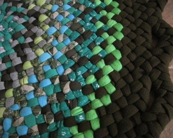 New Ready To Ship Handmade Round Hand Braided Rug / Carpet / Rag Rug in shades of blue and greens for Nursery / Kitchen/ Bathroom / Entry