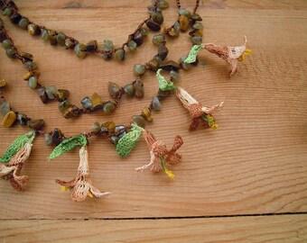 crochet flower necklace, beige brown green