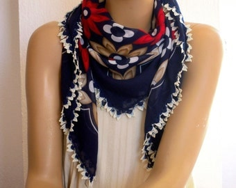 cotton scarf with crochet trim, navy, turkish oya