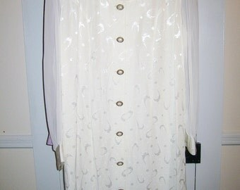 Dress, White, Plus Size, Brocade, 1990s