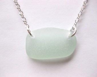 SS Large Sea glass jewelry beach glass jewelry SS sea glass pendant  I love jewelry