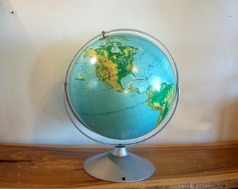 """16 """" Nystrom Pictorial Relief Globe Wall Mounted School Room ~ T. F. Barton, Clyde F. Kohn, ~ Published by A.J. Nystrom & Co. Chicago 1968"""