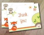 Spring Family, Forest Animal Baby Shower, Forest Animal Thank you Cards, Folded Thank You Cards, Set of 10 Professionally Printed,