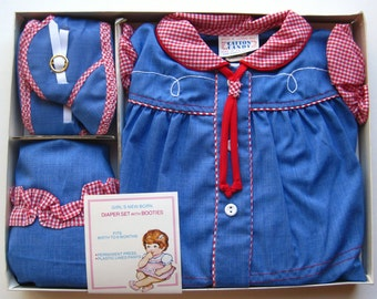 Vintage 50s Baby Buckaroo Infant Western Cowgirl Dress Set with Boots NOS 6mo
