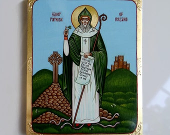 Saint Patrick original icon on canvas, St. Patricks Day, 8 x 10 inches, St Patrick with shamrock, MADE to ORDER