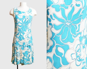 Vintage 60s SCOOTER DRESS / 1960s Blue and White Psychedelic Floral Print Sleeveless Mini Dress, m