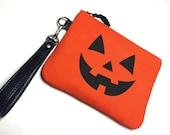 Jackolantern Handbag, Jackolantern Wristlet, Halloween Handbag, Pumpkin Wristlet