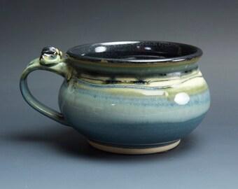 Handmade pottery soup mug ceramic chili mug glossy blue cereal bowl 24 oz  3578