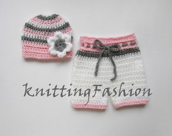 NewBorn Baby Girl Beanie and Shorts  _Baby Girl First Crochet Outfit_ Baby Girl Hat and Shorts _Newborn Baby Girl Outfit