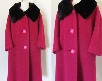 Vintage 1960's Designer Swing Coat / CHANTAL Paris Italy Fuchsia Pink Winter Boucle Wool Coat / Black Sheered Beaver Fur Collar