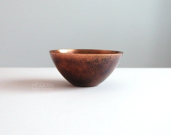 Vintage Leon Statham Brown Enamel Copper Mid Century Modern Bowl