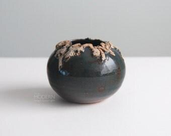 Vintage Studio Pottery Nishio Stoneware Globe Vase Pot Mid Century Modern
