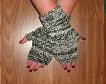 Luxury mink and merino wool fingerless gloves, wrist warmers