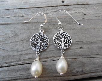 Pearl earrings handmade in sterling silver
