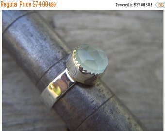 ON SALE Lime green chalcedony ring in sterling silver