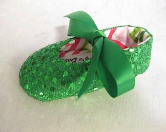 Green Christmas baby shoes toddler St. Patrick's Day shoes green sequin shoes sparkle baby shoes- Joy Green