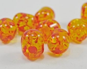Glass barrel beads, orange/gold and red - 15mm - #1519