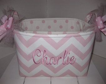 10 x 10 x 7 Large Diaper Caddy / Organizer Bin - Baby Pink Chervon Polka Dots - Personalization Available
