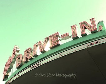 Drive In Photograph, Photography, Photo, Mint, Pink, Neon, Sign, Retro, Nostalgia, Sky, Food, Restaurant, Movie, Print, Old Cars, Vintage