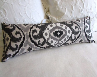 Bolster/lumbar pillow charcoal and grays ikat 9x25