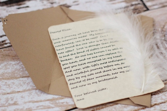 note - card - message - letter - Jane Austen inspired - personalized