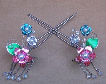 Vintage hair pins Japanese kanzashi hair comb hair accessory hair jewellery hair slide headdress headpiece hair pick